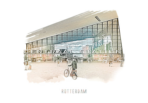 Ben Kleyn Rotterdam | Poster | Centraal station 4 | Vintage |