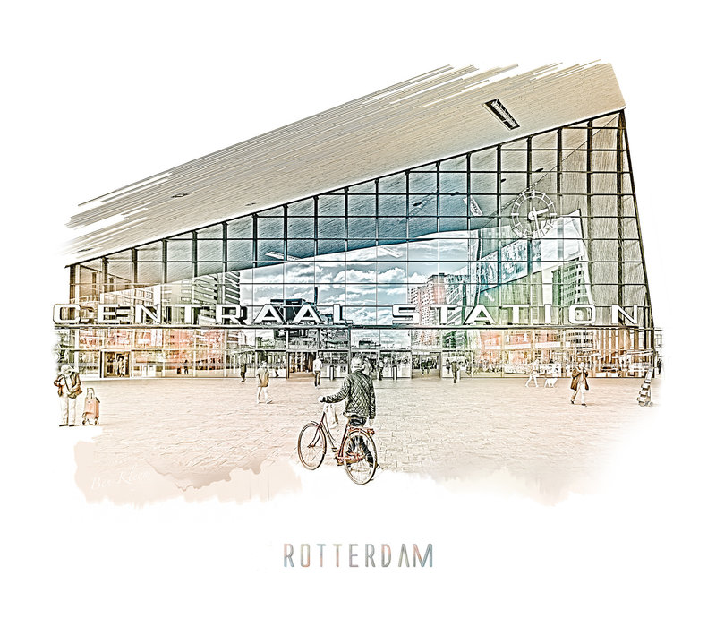 Rotterdam | Poster | Centraal station 4 | Vintage |30x30