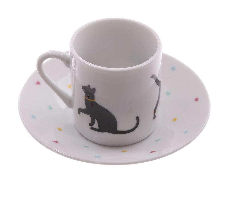 Espressoset zwarte katjes
