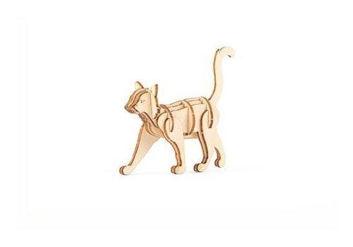 Kikkerland 3D houten puzzeltje kat