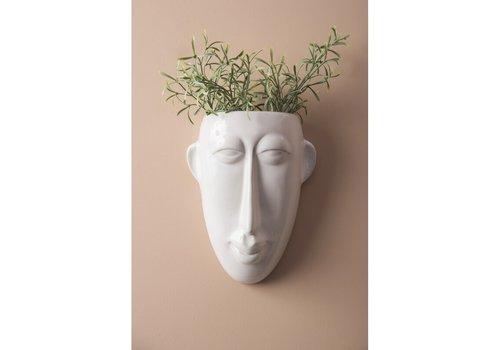 Present Time Wall Plant Pot Mask | Long | White
