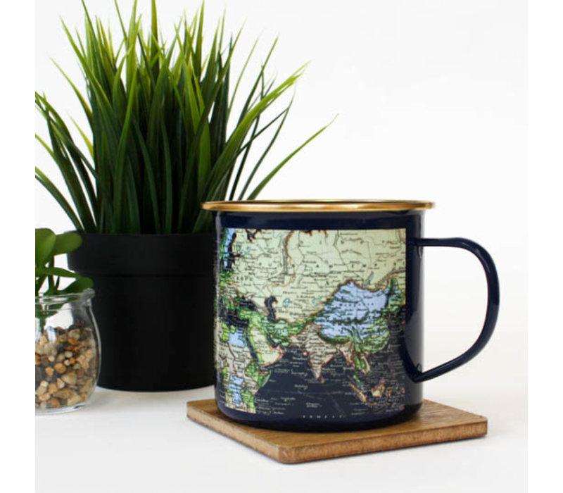 Man Of The World | Blue Enamel mug | Emaille Mok Wereldkaart