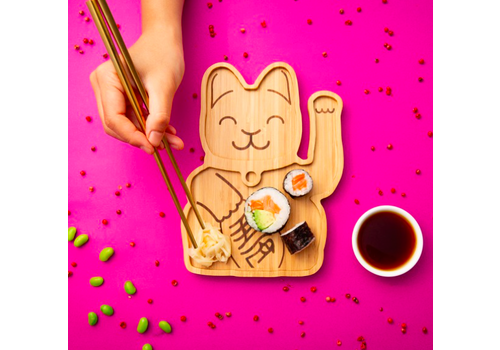 Donkey Bamboo plate Lucky Cat