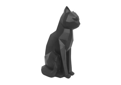 Present Time Statue Origami Cat Sitting Matt Black