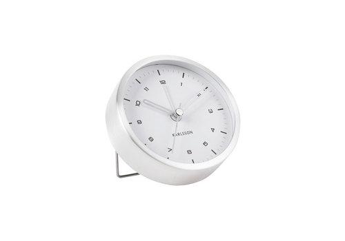Present Time Alarm clock Tinge | brushed steel white dial | wekker