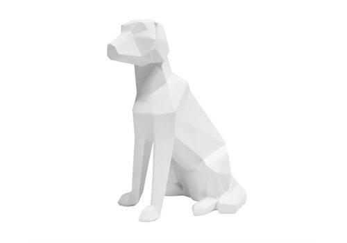 Present Time Statue Origami Labrador Dog Sitting Matt White