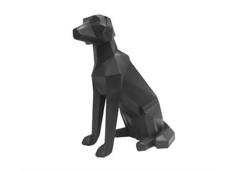 Present Time Statue Origami Labrador Dog Sitting Matt Black