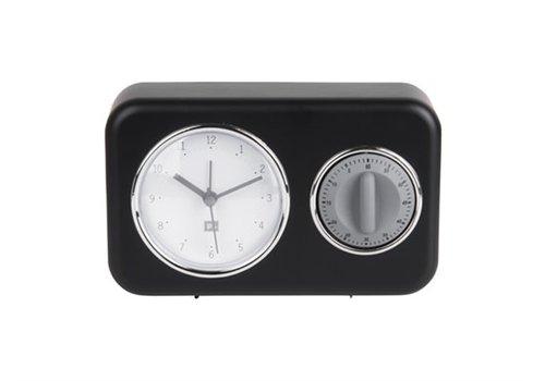 Present Time Clock With Kitchen Timer Klok met Kookwekker Black