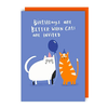 Lucy Maggie Designs Wenskaart Birthdays are better when cats are invited