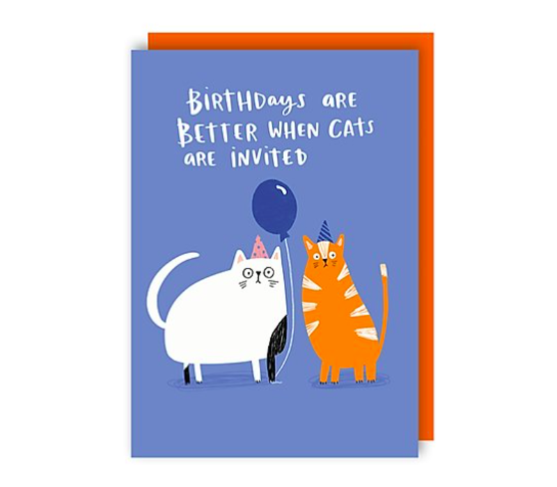 Wenskaart Birthdays are better when cats are invited