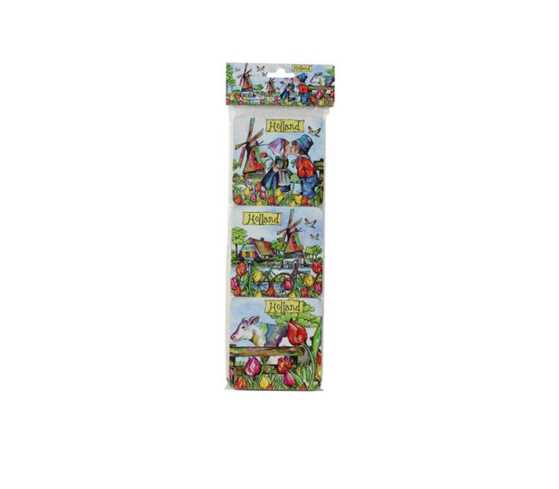 Onderzetters kleurrijk Holland 6 stuks