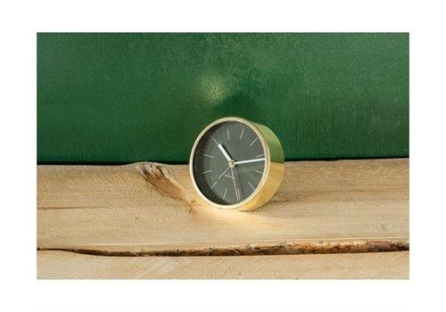 Present Time Alarm Clock Minimal Black with shiny gold case
