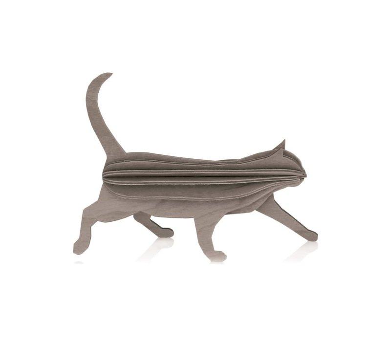 Wenskaart hout kat grijs