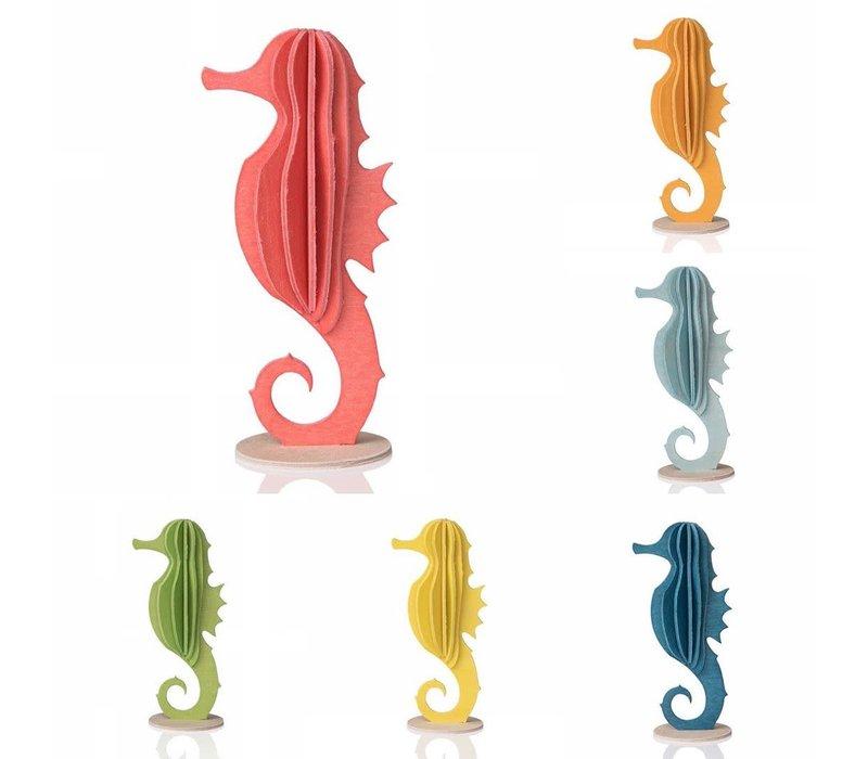 Wenskaart 3D zeepaardje hout groen