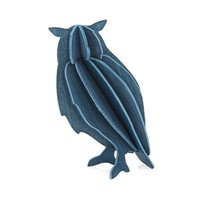 Wenskaart 3D uil hout blauw