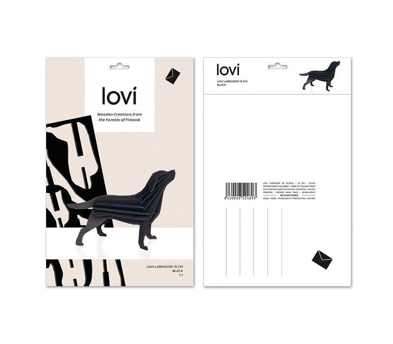 Wenskaart 3D Labrador zwart