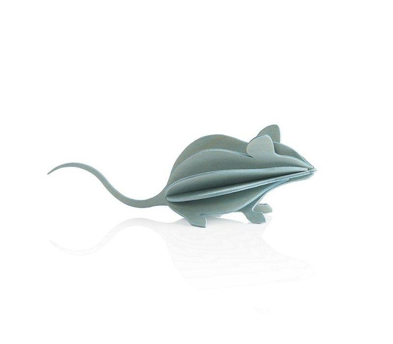 Wenskaart 3D muis licht blauw