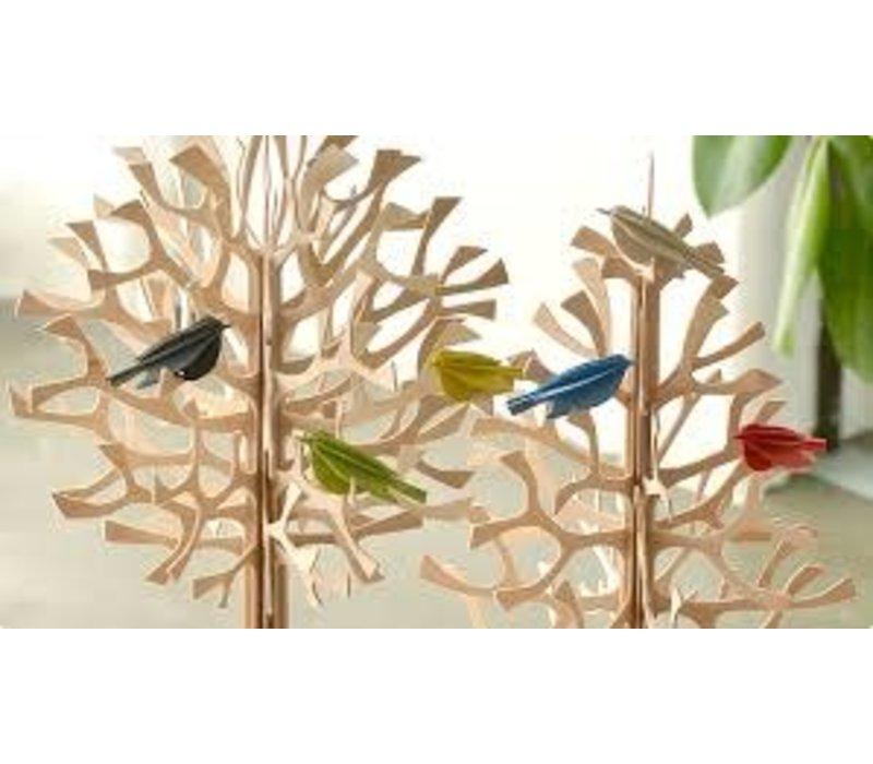 Wenskaart 3D vogeltjes rood