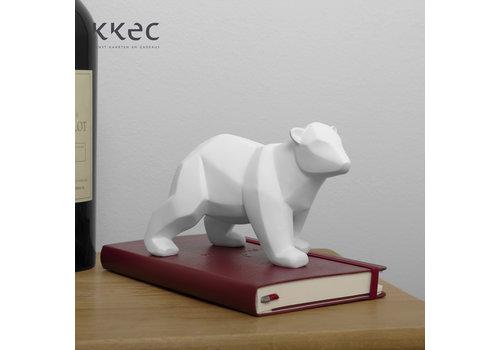 Present Time Statue Origami Bear small white