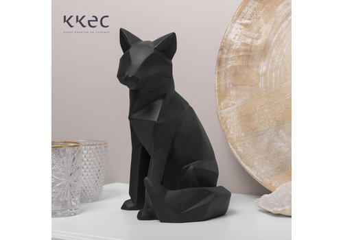 Present Time Statue Origami Fox Large black Vos zwart