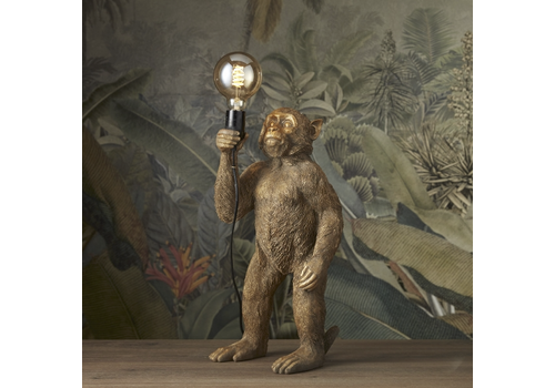 Werner Voss Lamp Standing monkey gold