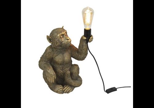 Werner Voss Tafellamp- zittende aap goud