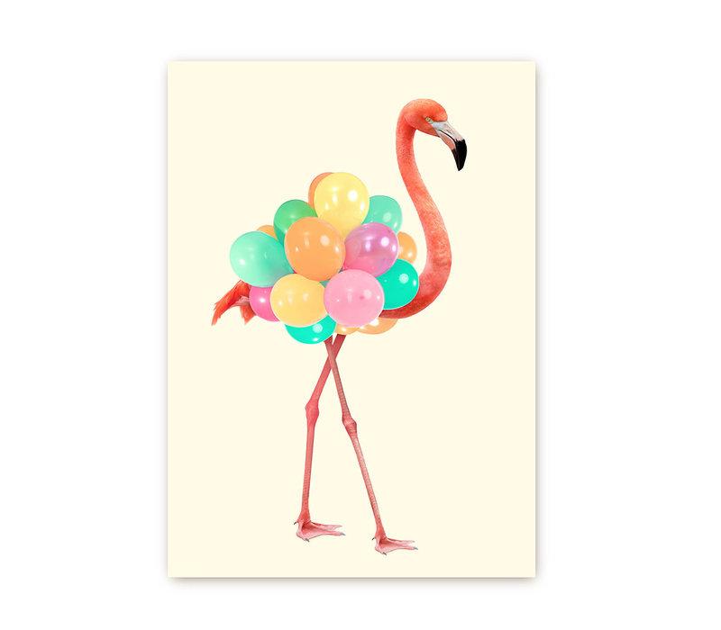 Flamingo met ballonnen