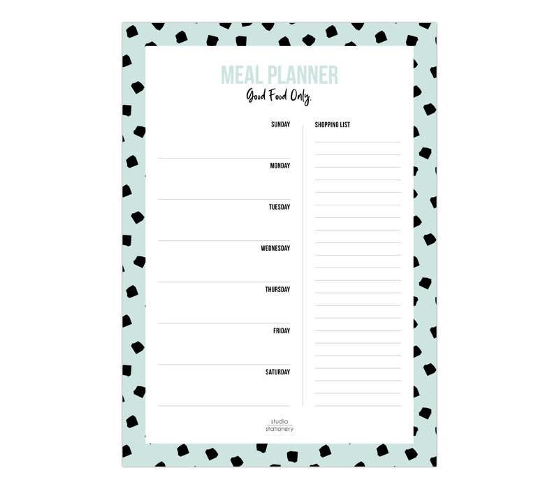 A5 Noteblock | Mealplanner Dots Mint