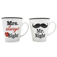Set bekers -  Mr. Right & Mrs. Always right