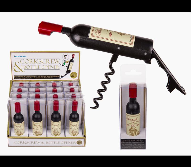 Flesopener en kurkentrekker wijnfles vorm