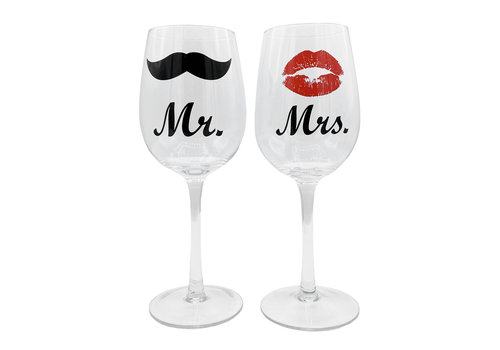 Wijnglazen set - Mr & Mrs