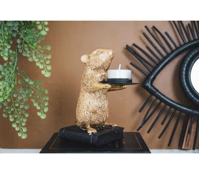 Waxinelichthouder muis goud