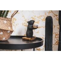 Waxinelichthouder - muis zwart