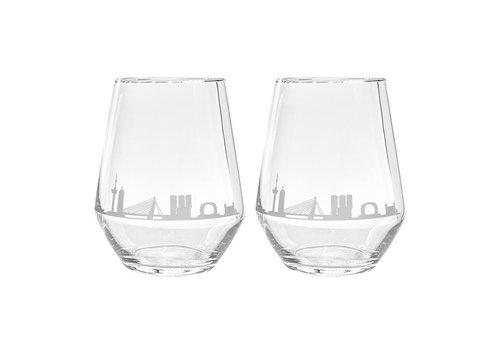 City-Glass Waterglas -Rotterdam Skyline  set van 2
