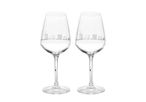 City-Glass Wijnglazen -Rotterdam Skyline set van 2