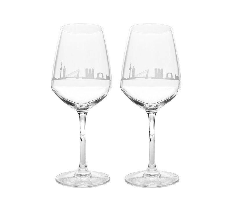 Wijnglas Rotterdamse skyline set van 2