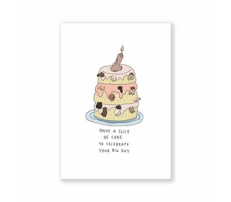 Kaart - Penis Birthday Cake