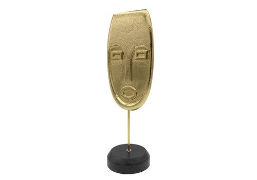 Housevitamin Goudkleurig hoofd op houten voetstuk
