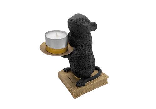 Housevitamin Waxinelichthouder - muis zwart