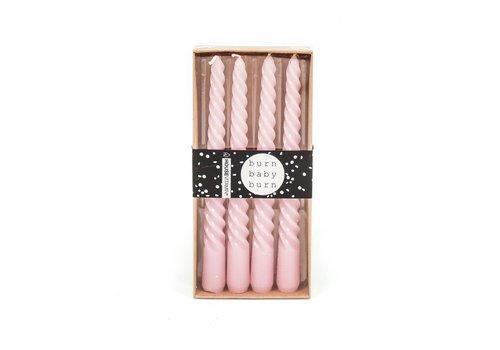 Housevitamin Set van 4 Gedraaide Kaarsen Roze