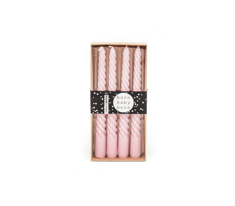 Set van 4 Gedraaide Kaarsen Roze