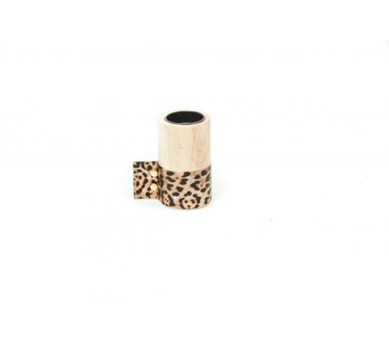 Houten Wax.houder Luipaard M