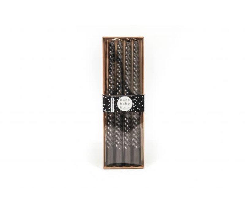 Set van 4 Kaarsen Zwart 30 cm