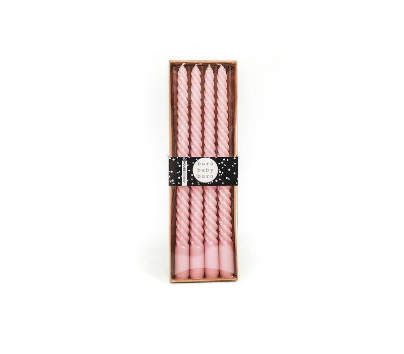 Set van 4 kaarsen roze 30 cm