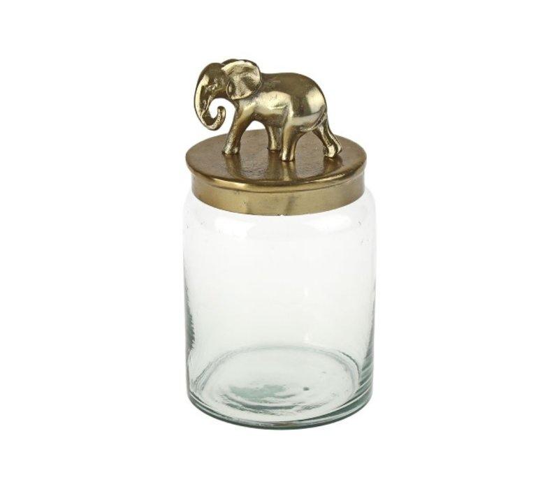 Pot met olifant op deksel