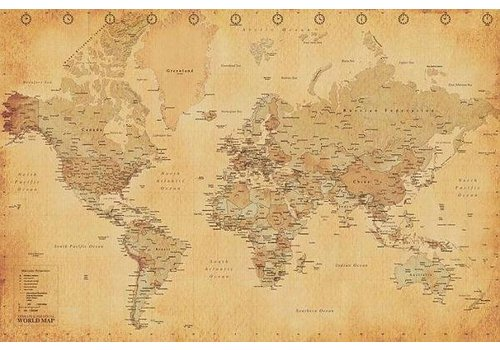 Poster |  WORLD MAP - VINTAGE STYLE