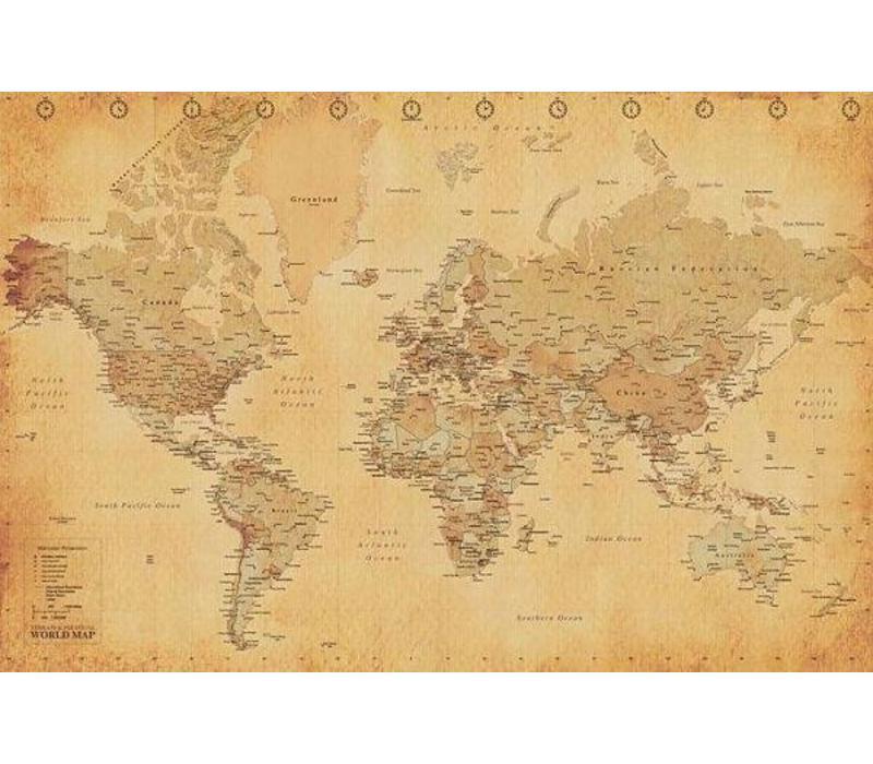 WORLD MAP - VINTAGE STYLE
