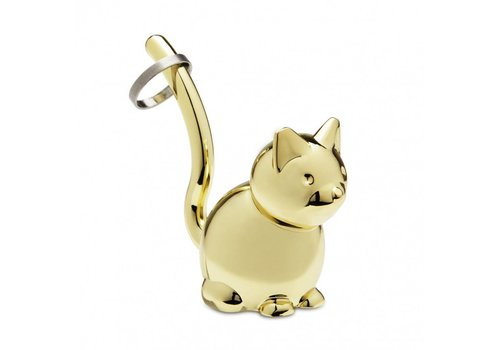 Zoola cat ringholder brass