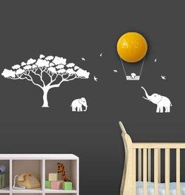 Wanddecoratie met lamp Mumbo wit