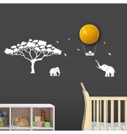 BabyZoo Wanddecoratie met lamp Mumbo wit